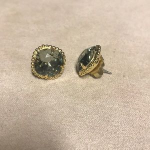 Sorrelli Jewelry - Bright gold black diamond cushion cut studs